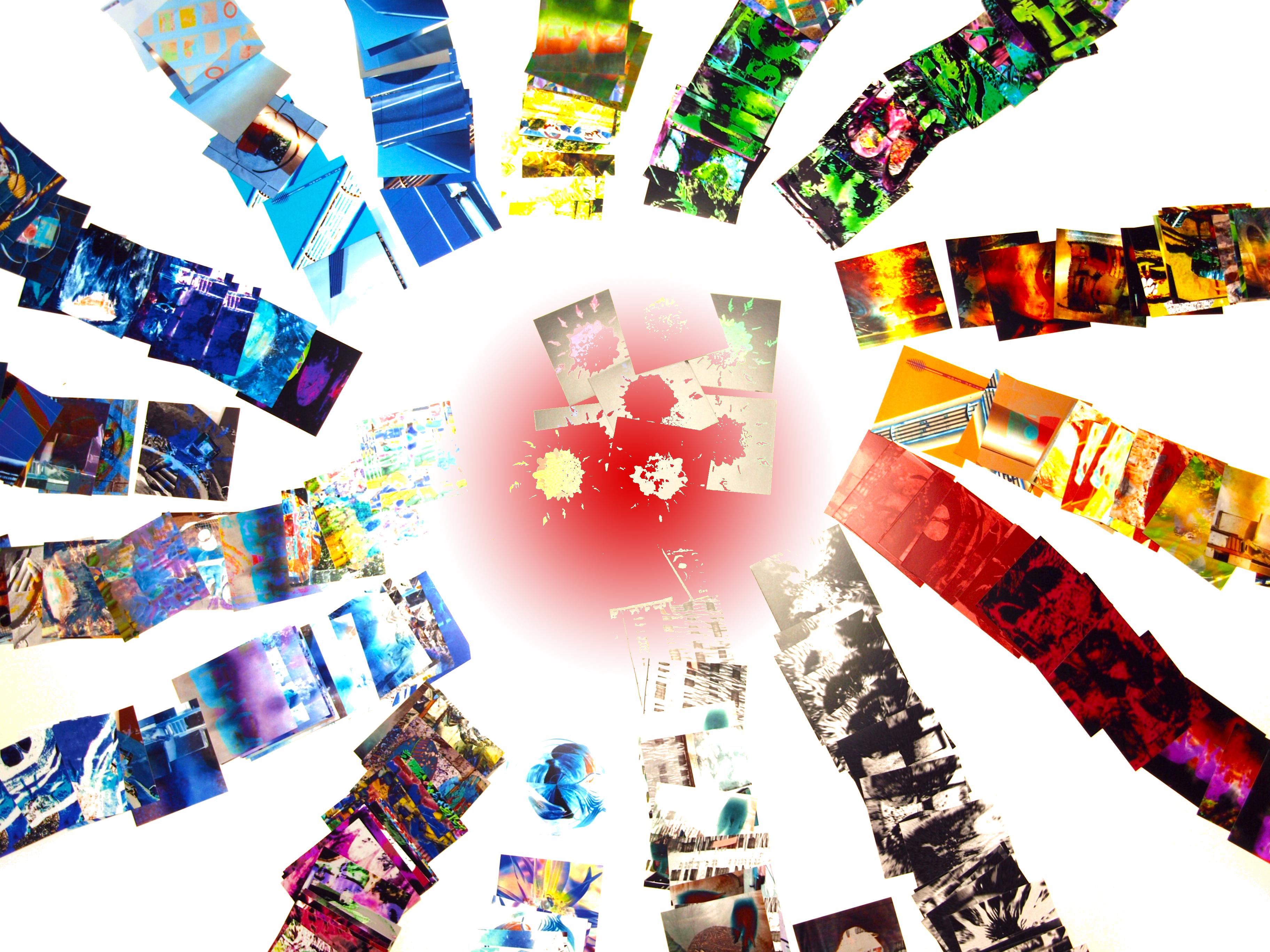 Aus bearbeiteten Fotoausschnitte mit energy-in-art Motiven entstand ein neues Kunstwerk.